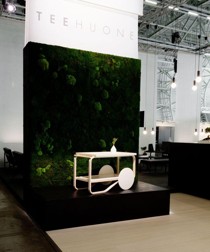 Artek Tearoom in Habitare Furniture Fair 2015, Helsinki, Finland. Design by Anni Pitkäjärvi ja Hanna-Kaarina Heikkilä. Moss wall: InnoGreen, Picture: Aino Huovio