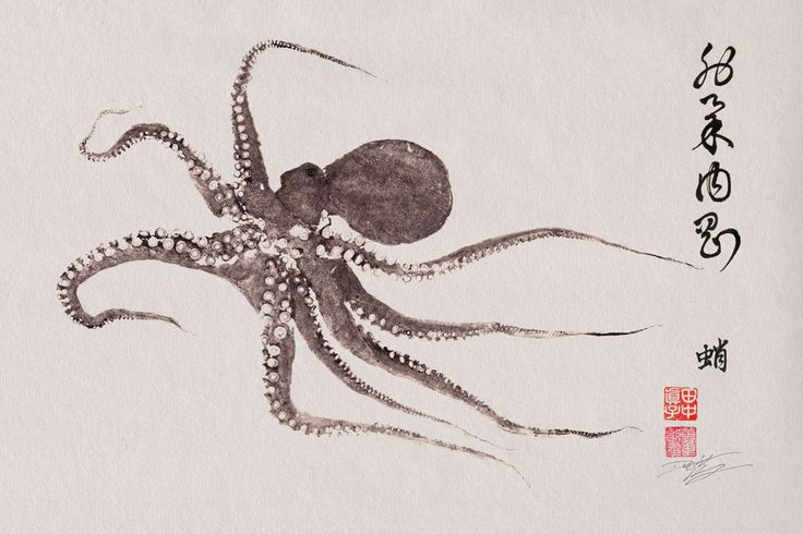 FLYING OCTOPUS- GYOTAKU / Calligraphy print - traditional Japanese fish art - by dowaito. $55.00, via Etsy.