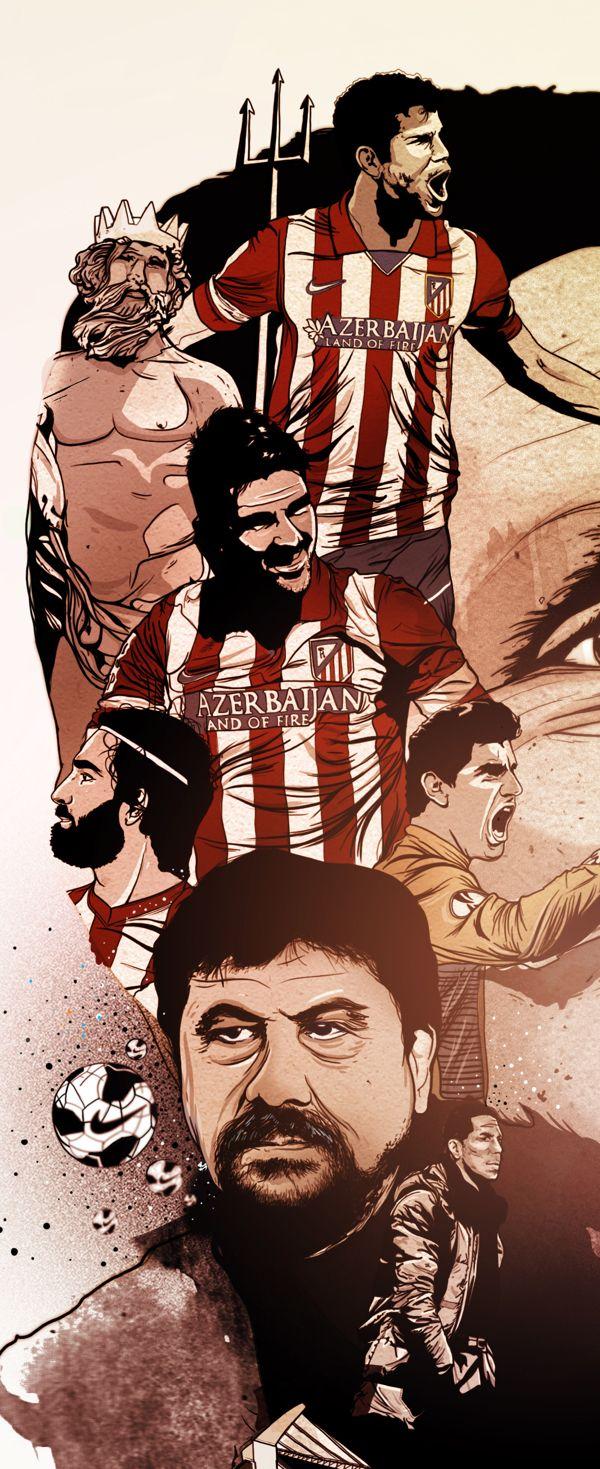 Atletico de Madrid Editorial Illustrations by oscar llorens, via Behance