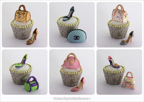 """sugar shoes and purses for cupcakes. """"Everyday Elegant"""" Cupcake Collection by Cakes."""