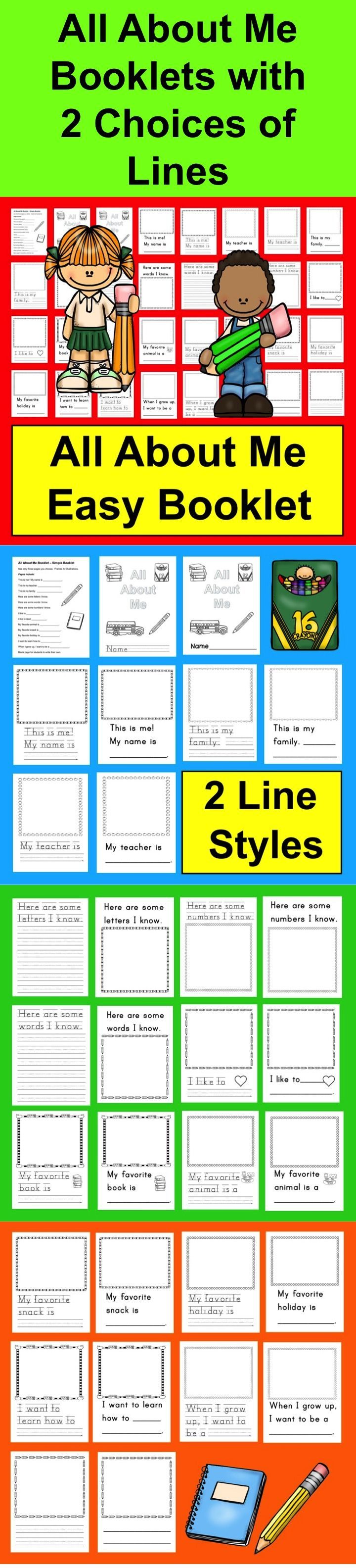 $ All About Me Booklet  ★ 2 Versions: Simple Lines & Skip Count Baselines  ★ Simple All About Me Booklet  ★ Use only those pages you choose for your All About Me Booklet.   ★ All About Me Frames for illustrations.