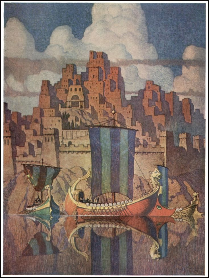 """""""Tyre"""" ... by N. C. Wyeth  """"Tyre is an ancient Phoenician port city which Dido of Carthage who gave aid to, and fell in love with, Aeneas of Troy. The Tyrians were known as workers in dye from the shells of the Murex shellfish. This purple dye was highly valued and held royal connotations in the ancient world. It also gave the Phoenicians their name from the Greeks - Phoinikes - which means """"purple people""""."""