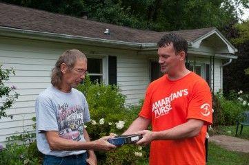 A man in Catawba County, North Carolina, sees hope as Samaritan's Purse volunteers work and accepts Jesus as Savior