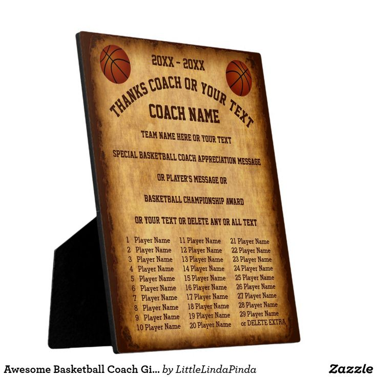 Personalized Basketball Coach Gift Ideas with ALL Player's Names & 6 more text templates. Basketball coach appreciation gifts message. CLICK: https://www.zazzle.com/z/y5mdg?rf=238147997806552929 Basketball Plaque appreciation gifts for basketball coaches. Custom Basketball gifts for coaches or basketball players gift ideas. Call Zazzle Designer Linda for Design CHANGES: 239-949-9090 MORE basketball presents…