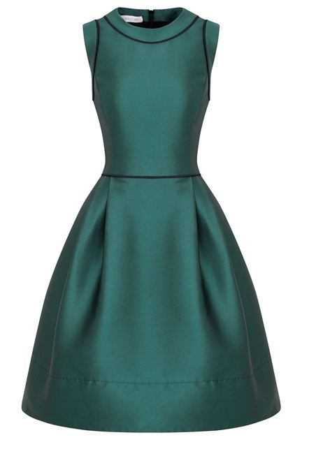 New in for AW13 this fabulous retro style dress is packed with charm and full of 1950's spirit. A unique, cool, playful silhouette with a modern perspective. Flattering silhouette with a close fitting bodice which is waisted and then kicks out into a fun full skirt part. The most divine bottle green dress. As worn by Martha Ward of British Vogue.com to present Royal Ascot