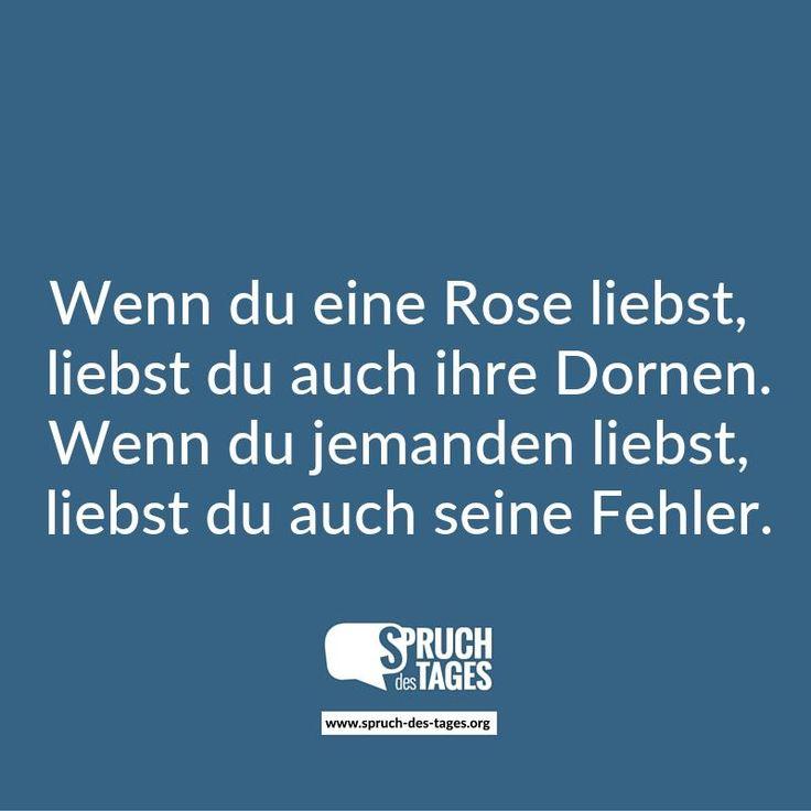 Wenn du eine Rose liebst, liebst du auch ihre Dornen. Wenn du jemanden liebst, liebst du auch seine Fehler.
