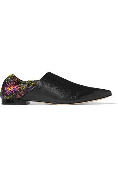 3.1 Phillip Lim - Babouche Floral-print Leather Slippers - Black