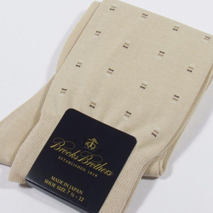 BROOKS BROTHERS Men's Neats Pattern Dress Socks TAN/FAWN Made in Japan O/S NWT #BrooksBrothers #Dress