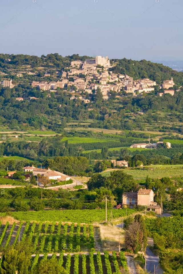 Vista  de Bonnieux para Lacoste, Vaucluse, Provence Alpes Cote D Azur, França   Dos terraços de Bonnieux tem uma bela vista do vale do Calavon até o vilarejo de Lacoste, e no planalto de Vaucluse ficam os vilarejos de Gordes, numa colina e o Roussillon com suas escarpas avermelhadas e ao fundo o monte Ventoux.