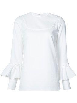 блузка с оборками на рукавах