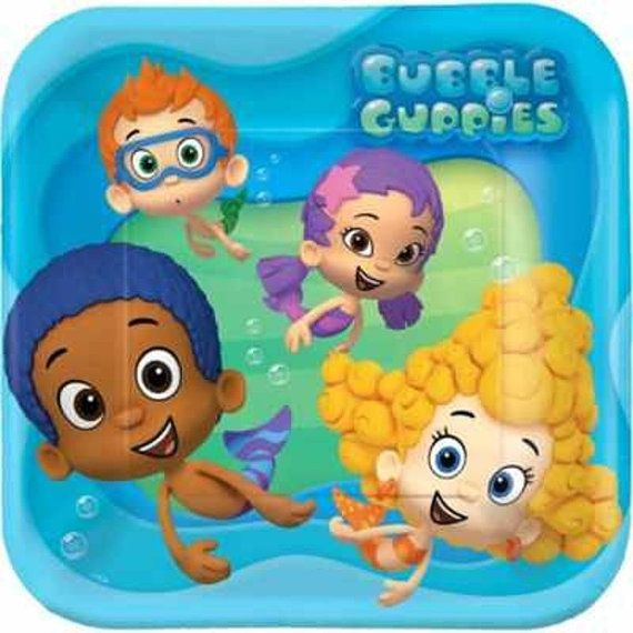 Bubble Guppies Party Favor Dinner Plates Bubble by MehareyDesigns,  These 9 inch wide dinner plates are great for Bubble Guppies Parties!