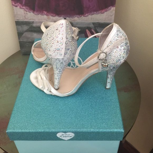 Betsey Johnson sparkle heels Iridescent sparkle heels. Worn once to 8th grade banquet. Inside of shoe is kinda dirty reflected in price and wouldn't be noticeable while wearing. I think these are dyeable. Reasonable offered accepted Betsey Johnson Shoes Heels