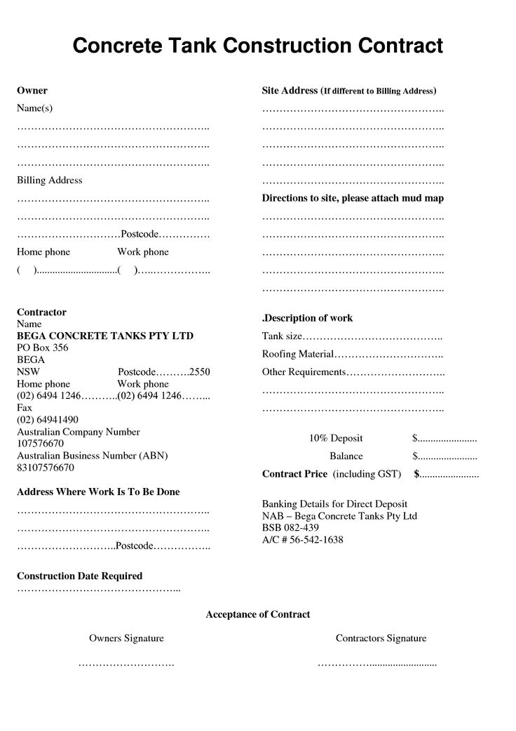 contractor contract template