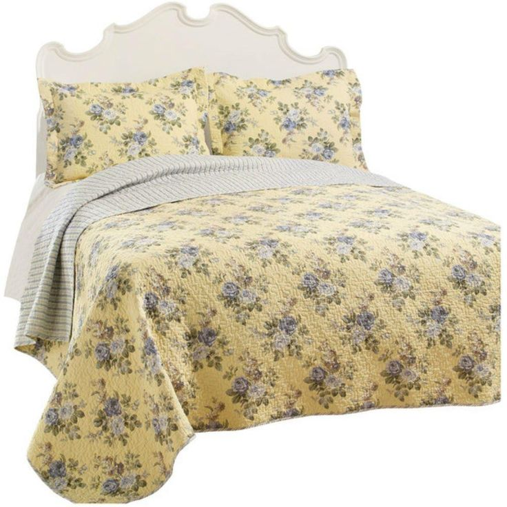 3 Piece Yellow Bedspread Quilt Set with Light Gray Blue Roses Reversible Stripe Patterns Full Queen Size