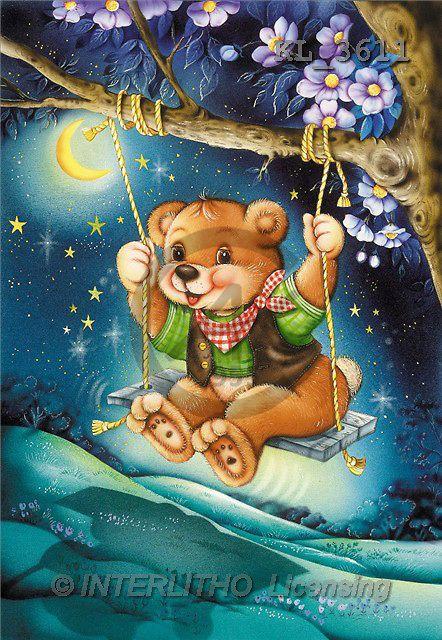 Interlitho, Michele, CUTE ANIMALS, paintings, bear on swing(KL3611,#AC#) illustrations, pinturas