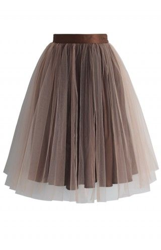 Festive Pleated Mesh Tulle Skirt in Brown - Retro, Indie and Unique Fashion