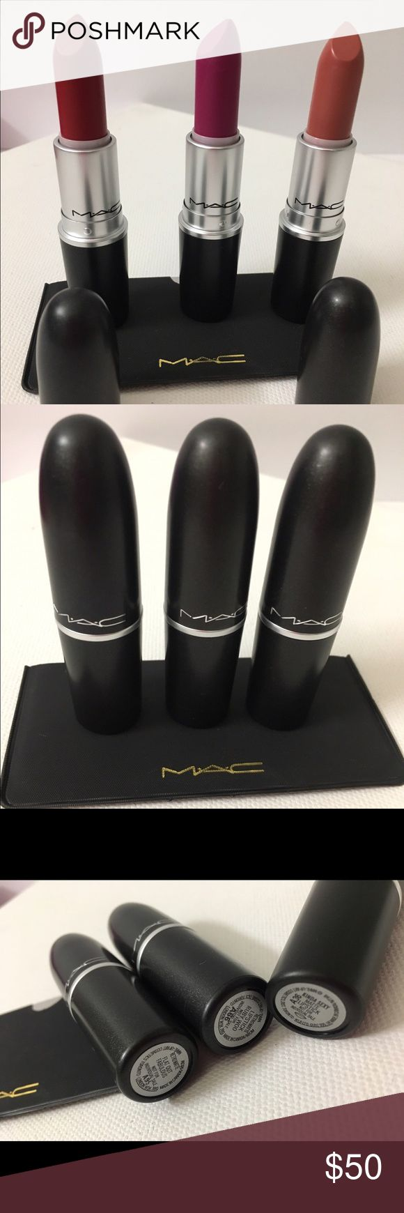 """💯Mac Matte X3 Rubywoo/Flatoutfabulous/Kinda sexy Authentic brand new ! X3 Retro Matte bundle  .  BNNB"""" Comes with gifts 👍🏼💄✨✨ not separating . Make offer w/button dolls NO LOWBALLS ! My closet is worth the $$ I promise xo Marie b Lena 😘💄💋💋✨✨✨✨💫 MAC Cosmetics Makeup Lipstick"""
