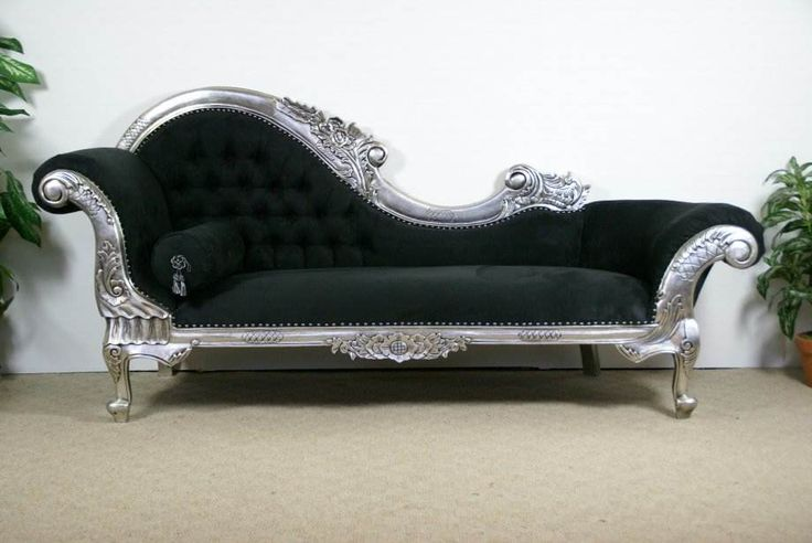 French Empire chaise: Ideas, Chaise Lounges, Living Room, Silver, Fainting Couch, House, Furniture, Design, Black