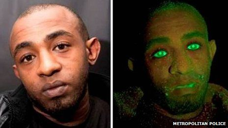 "A thief who broke into a decoy car was caught out due to an ""anti-crime"" dye that turned his face bright green."