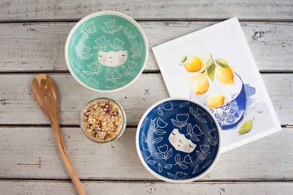 CONJUNTO de 2 - tazón de cerámica hecha a mano - porción bowl - tazón de fuente del helado - desayuno bol - mesa - bebé ducha regalo - regalo