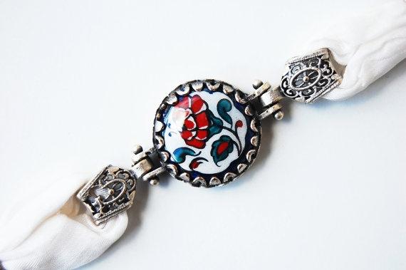 Handpainted Ceramic and Silk Bracelet  Silver by TheGrandBazaar, $17.50