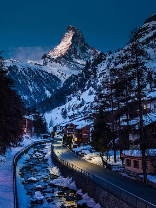 Winter's Night, Zermatt, Switzerland photo via vera