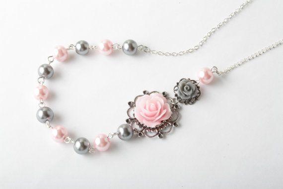 Bruidsmeisje ketting - vintage stijl Roze halsketting - parel Collier - roze en grijs huwelijk - bloem ketting - roze roos jewelry - Canada