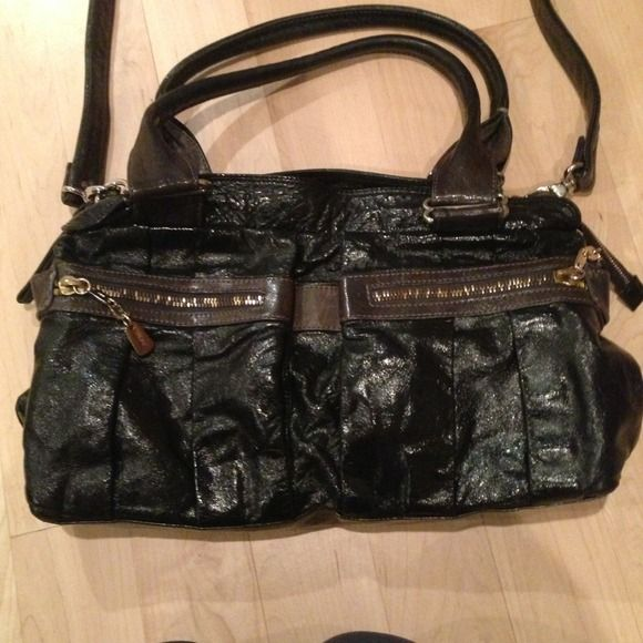See by Chloe handbag Black and grey patent cross body see by Chloe handbag. Hardware is gold. Good condition See by Chloe Bags