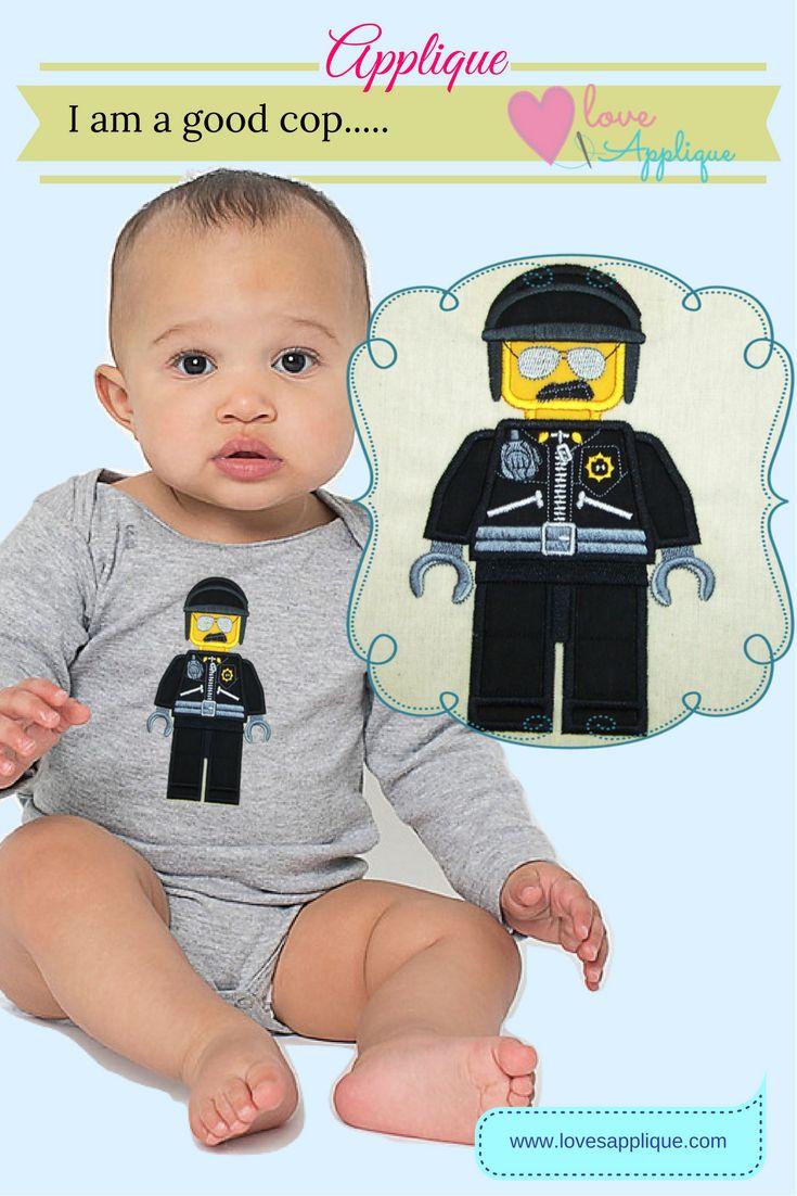 Lego Bad Cop Applique. Lego Bad Cop Embroidery Designs. Lego Movie. Lego Party Ideas. Lego Outfit Ideas. Disney Applique Designs. www.lovesapplique.com