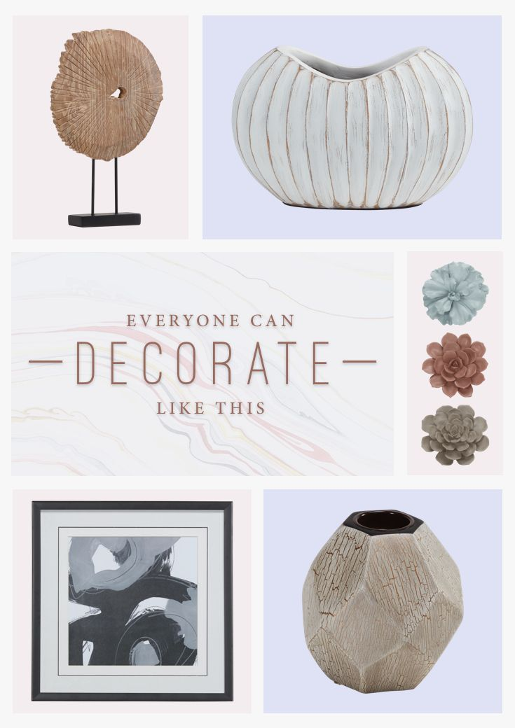 Home decor adds the finishing touch! Top your tables with vases and accessories, and decorate your walls with artwork and statement pieces. And just like that, the room comes together.