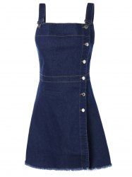 Stylish Single-Breasted Solid Color Suspender Denim Dress in Deep Blue | Sammydress.com Mobile