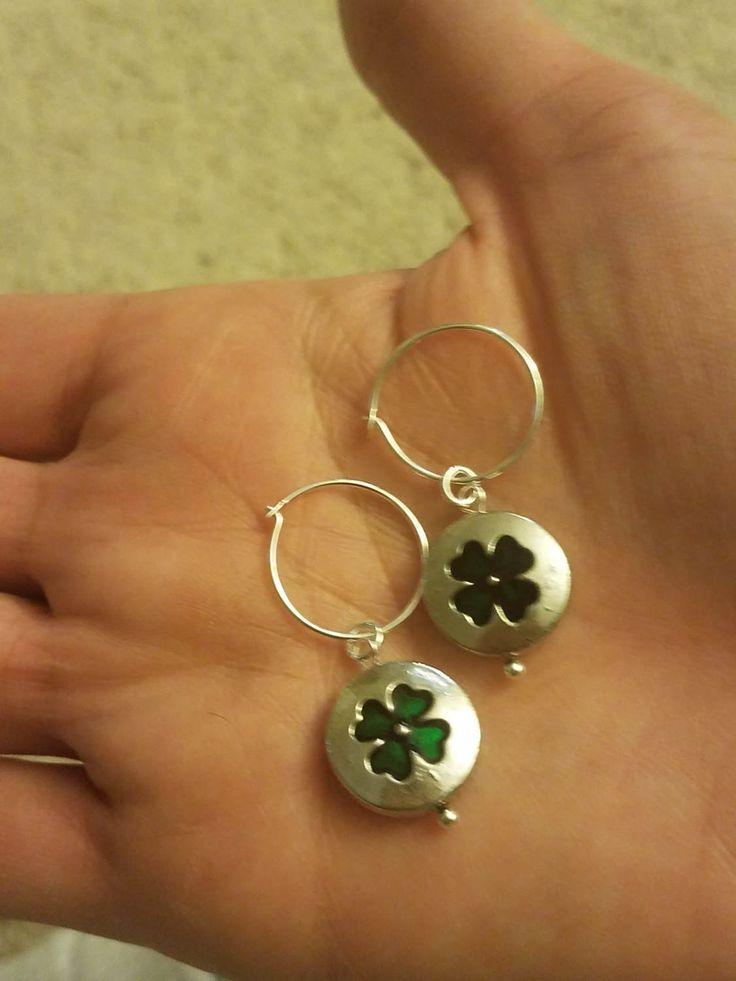 Simple Shamrock hoop earrings by NRoAccessories on Etsy