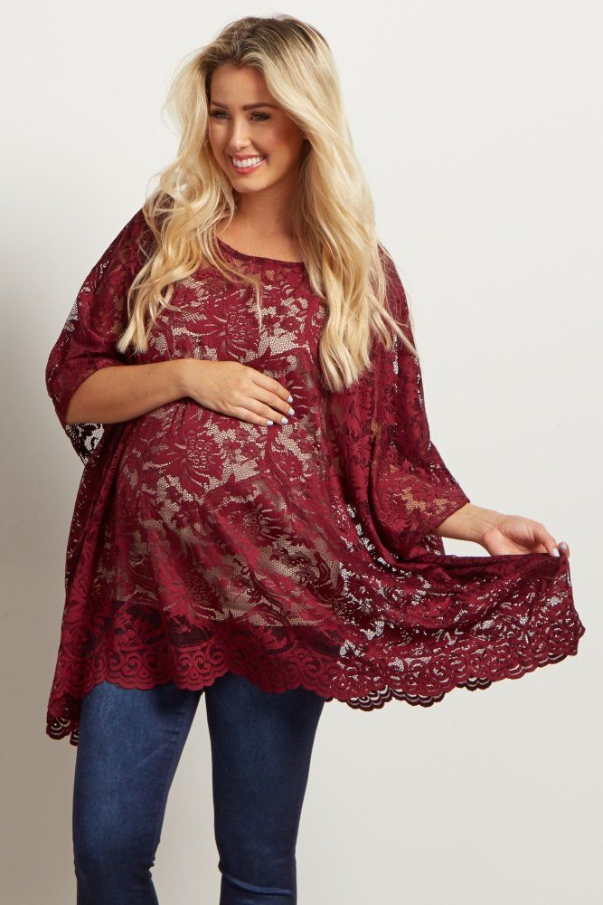 A simply gorgeous maternity top to show off your bump from week to week. We love the delicate floral lace detail that gives you a feminine look for any occasion. Layer this top over a maternity cami and pair with jeans or leggings for a complete ensemble.