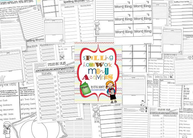Spelling Homework Menu & Something about a Sale - Ericas Ed-Ventures