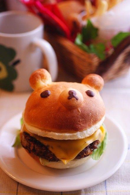 日本人のごはん/お弁当/パン Japanese meals/Bento/Bread b縦リラックマバーガー Rirakkuma burger