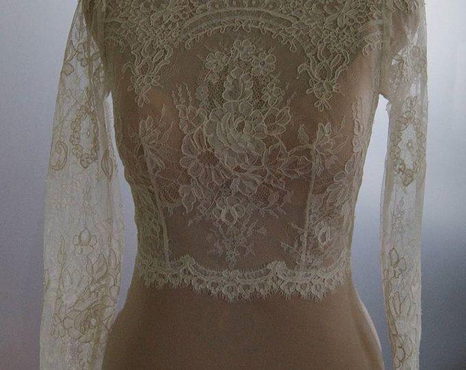 Top, bolero, jasje van kant, alencon, mouwen, bruiloft. Unieke, exclusieve romantisch bruids bolero ISABEL
