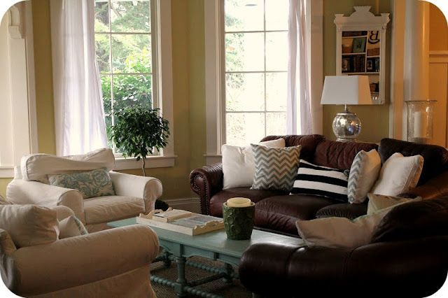 The Modern Cottage Company Leather Couch With White