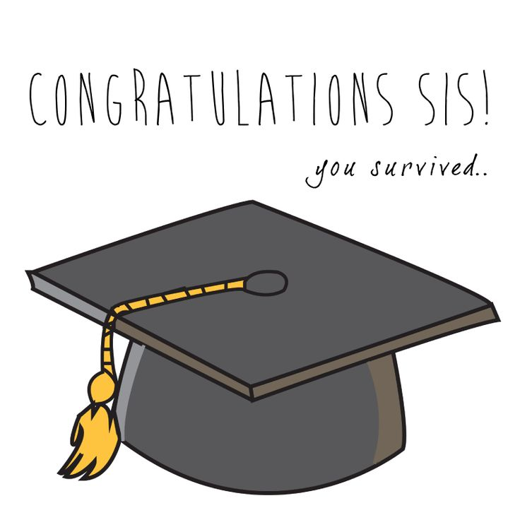Congratulations sis! you survived! Graduation cap quote card