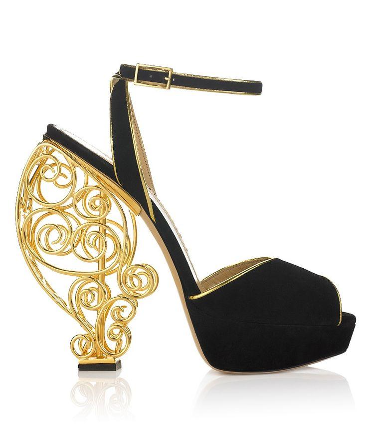Avalon Scroll Heels / Charlotte Olympia...Beautiful.: Olympia Shoes, Charlotte Olympia, Style, Crazy Shoes, Olympia Heels, Art, Gold Heels, High Heels, Olympia Avalon