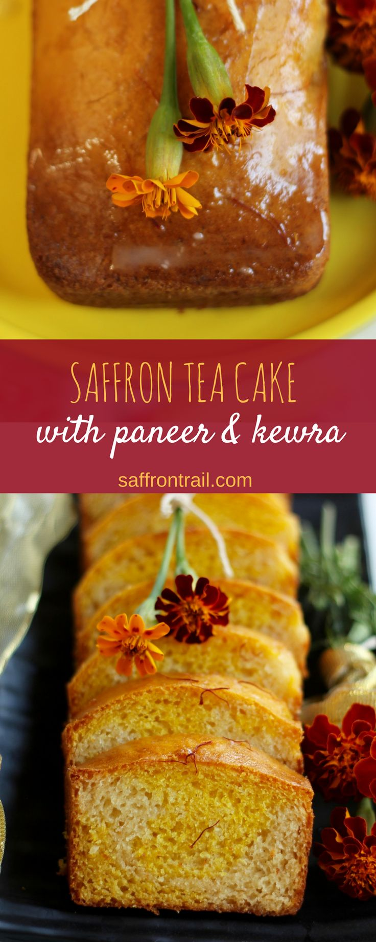 Diwali recipes - A festive tea cake with flavours of saffron and kewra (screwpine) - goes wonderfully with a cup of coffee and tea. No eggs used.