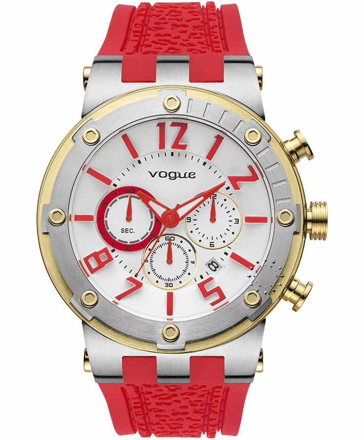VOGUE Feeling Chrono Red Rubber Strap  Μοντέλο: 202017001.9  Τιμή: 215€  http://www.oroloi.gr/product_info.php?products_id=31621