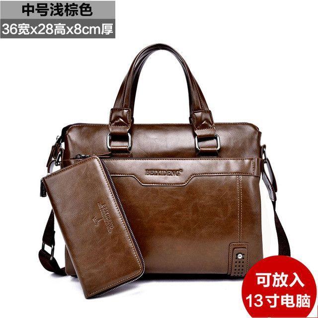 2016 Hot new luxury leather men's briefcase leather business briefcase shoulder bag men's messenger bag handbag Messenger bag