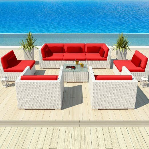 Uduka Outdoor Patio Furniture White Wicker Set Daly 8 Red All Weather Couch