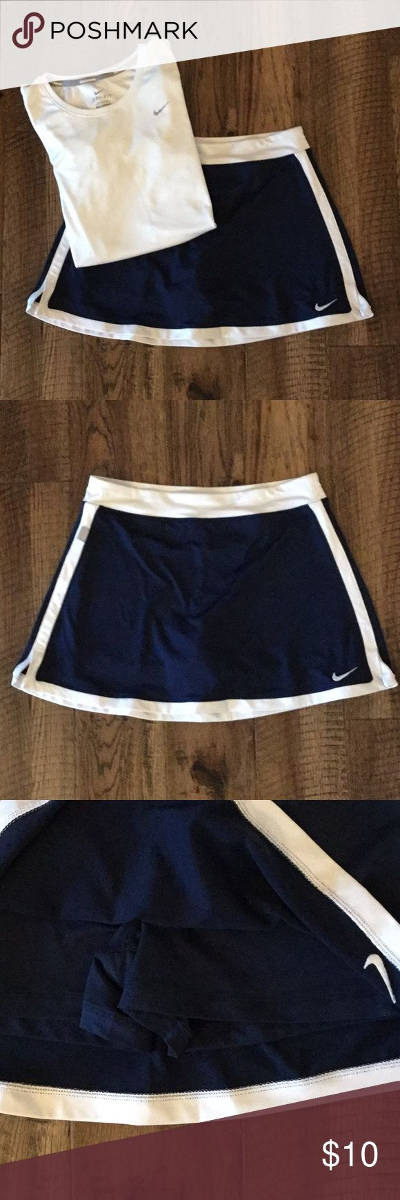 "Nike Tennis Skirt Navy Nike tennis skirt. In good condition. Tag says L girls waist measures 26"". Nike Skirts Mini"
