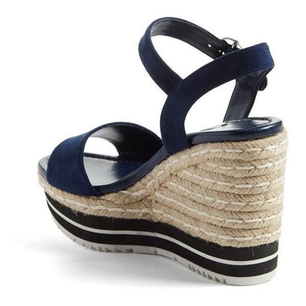 Prada Nautical Espadrille Wedge (Women) ❤ liked on Polyvore featuring shoes, sandals, prada footwear, wedges shoes, prada sandals, espadrille sandals and nautical shoes