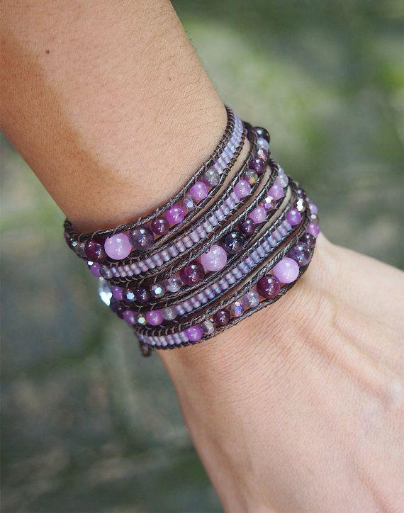 Amethyst mix Wrap bracelet on brown cord, Boho Wrap Bracelet, Beadwork bracelet