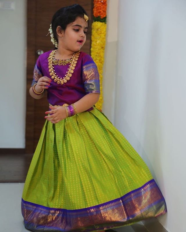 c5f3f2a5b9b902 Client diaries 😍 beautiful graceful Ridhima in a pattu  pawda welovedressingup kidswear kidsstylist kidsluxury