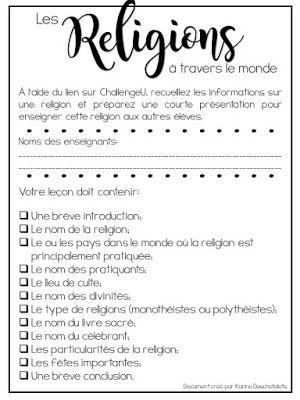 Consignes pour la mini-leçon sur les religions - http://laclassedekarine.blogspot.ca/