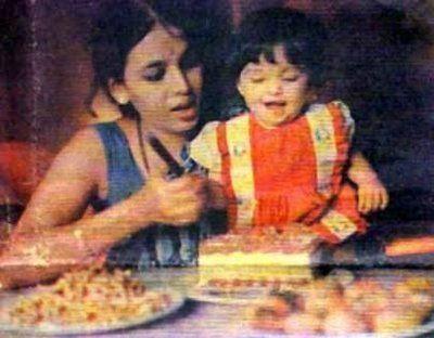 Baby Aishwarya Cutting The Birthday Cake