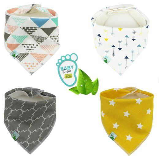 Baby Bandana Bibs, Unisex 4 Pack Cute Bib with Snaps - Best for Babies Drooling, Teething and Feeding - 100% Soft Cotton & Waterproof Fleece Backing. Perfect Baby Shower Gift Set for Boys & Girls